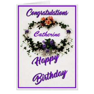 Vintage Violets Personalised Birthday Card