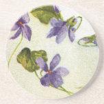 Vintage Violets Sandstone Drink Coaster