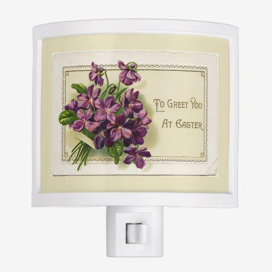 Vintage Violets To Greet You Easter Night Light