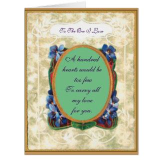 Vintage Violets Valentine Card