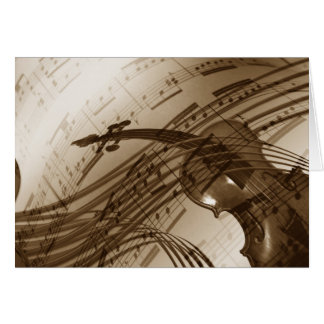 Vintage Violin and Sheet Music Greeting Cards
