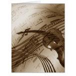 Vintage Violin and Sheet Music Card