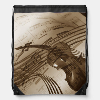Vintage Violin and Sheet Music Cinch Bag