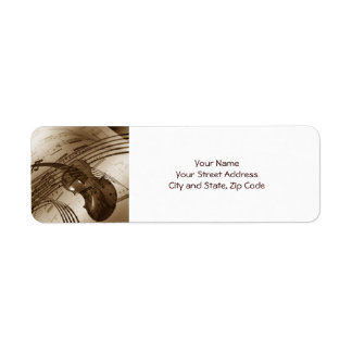 Vintage Violin and Sheet Music Custom Return Address Label