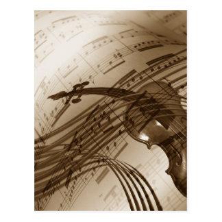 Vintage Violin and Sheet Music Postcard