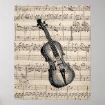 Vintage Violin and Sheet Music Poster
