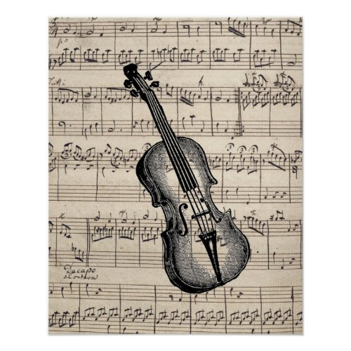 Vintage Violin and Sheet Music Poster