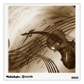 Vintage Violin and Sheet Music Wall Sticker