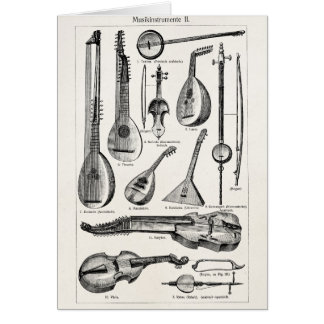 Vintage Violin Cello String Musical Instruments Card