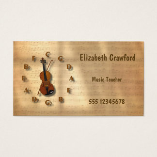 Vintage Violin Clock With Circle Of Fifths Music Business Card