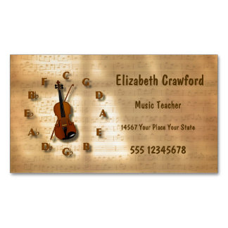 Vintage Violin Clock With Circle Of Fifths Music Magnetic Business Card
