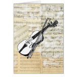 Vintage Violin Music Card