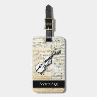 Vintage Violin Music Luggage Tag