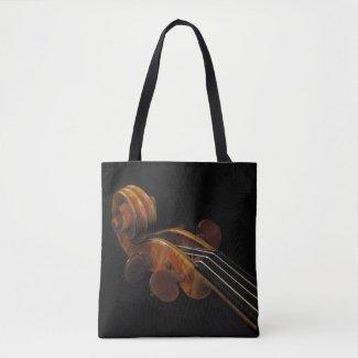 Vintage Violin Scroll Music Instrument Tote Bag