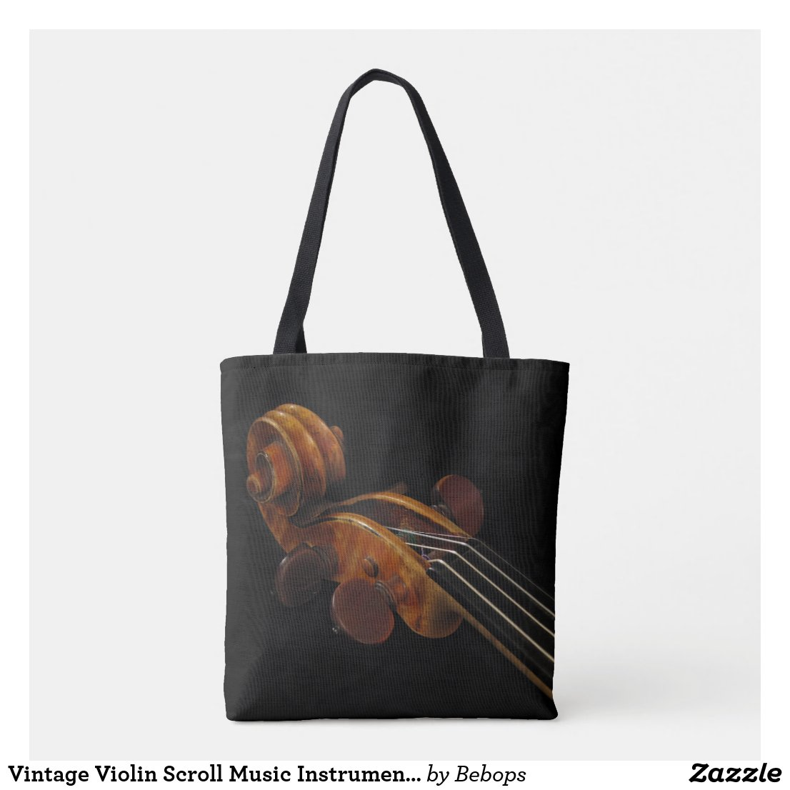 Vintage Violin Scroll Music Instrument Tote Bag