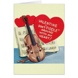 Vintage Violin Valentine Card