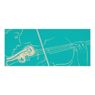 Vintage Violin Woman Microphone Music Turquoise 4x9.25 Paper Invitation Card