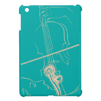 Vintage Violin Woman Microphone Music Turquoise iPad Mini Cases