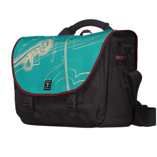Vintage Violin Woman Microphone Music Turquoise Laptop Messenger Bag