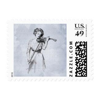 Vintage Violinist Art Stamp