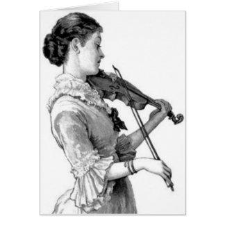 Vintage Violinist Card