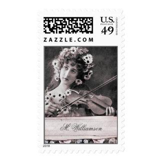 Vintage Violinist Victorian Floral Postage Stamps