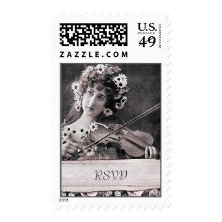 Vintage Violinist Victorian Floral RSVP Postage