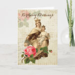"Vintage Virgin Mother  Mary Mount Carmel Card<br><div class=""desc"">Beautiful vintage religious image of the Blessed Mother,  Our Lady of Mount Carmel with Jesus and the Scapular and red roses on a vintage background.