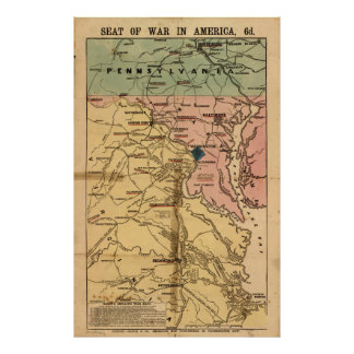 Vintage Virginia Civil War Map (1863) Poster