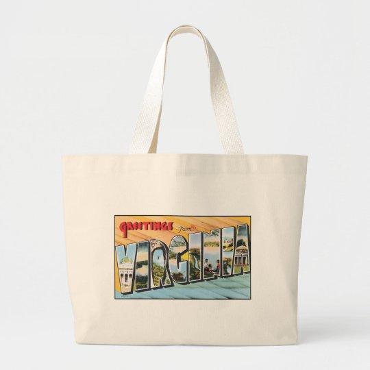Vintage Virginia Postcard Large Tote Bag