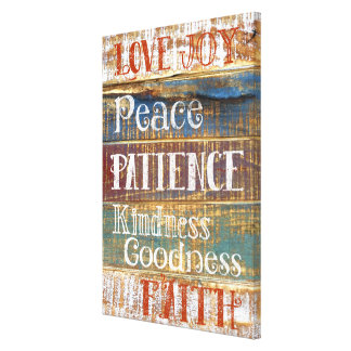 Vintage Virtues Inspirational Rustic Typography Canvas Print