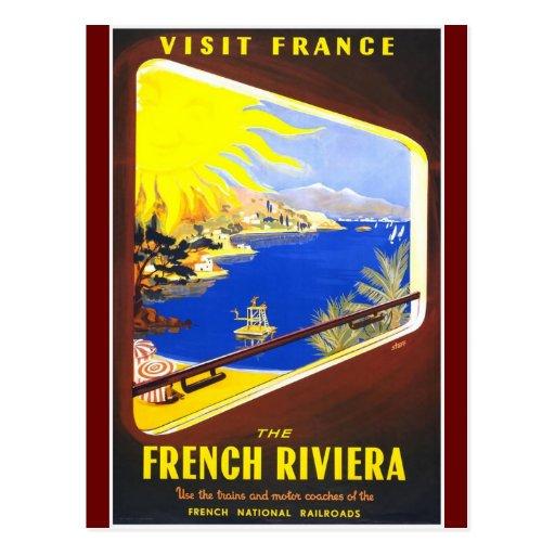Vintage Visit France Design Postcard