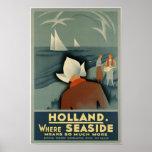 Vintage Visit Holland Travel Poster