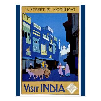 Vintage Visit India Travel Design Postcard