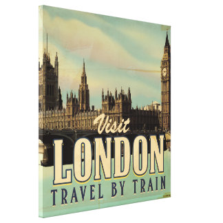 Vintage Visit London poster Canvas Print