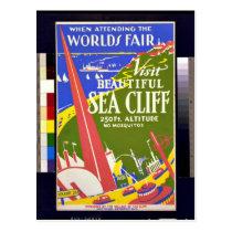 Vintage: Visit Sea Cliff (Long Island) WPA Poster Postcard