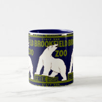 "Vintage ""Visit the Brookfield Zoo"" Polar Bear WPA Two-Tone Coffee Mug"