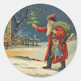 Vintage Visiting Santa Claus Stickers