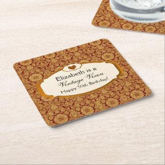 Vintage Vixen Gold Damask 50th Birthday A01 Square Paper Coaster