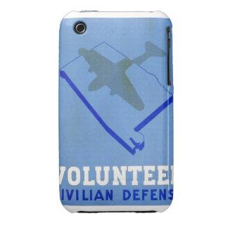 Vintage Volunteer Civillian Defense WPA Poster iPhone 3 Cases