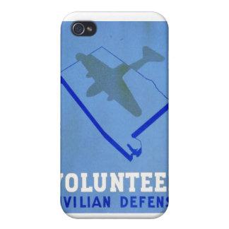 Vintage Volunteer Civillian Defense WPA Poster iPhone 4/4S Case