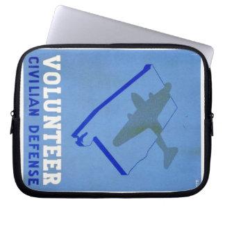 Vintage Volunteer Civillian Defense WPA Poster Laptop Sleeve