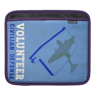 Vintage Volunteer Civillian Defense WPA Poster Sleeve For iPads