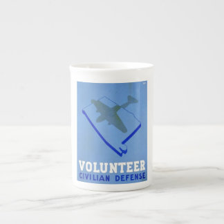 Vintage Volunteer Civillian Defense WPA Poster Tea Cup