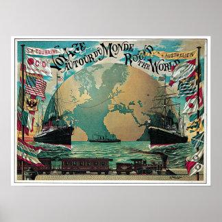 Vintage voyage around the world travel ad poster