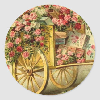 Vintage Wagon Filled with Roses and Gifts Round Stickers