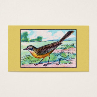 Vintage Wagtail Bird Print Business Card