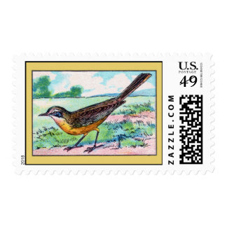 Vintage Wagtail Bird Print Postage Stamp