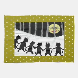 Vintage Wain Black Cat Moon Polka Towel