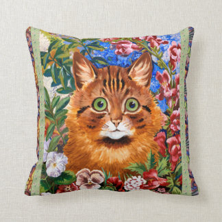 Vintage Wain Brown Cat among the Flowers Cushion Pillow
